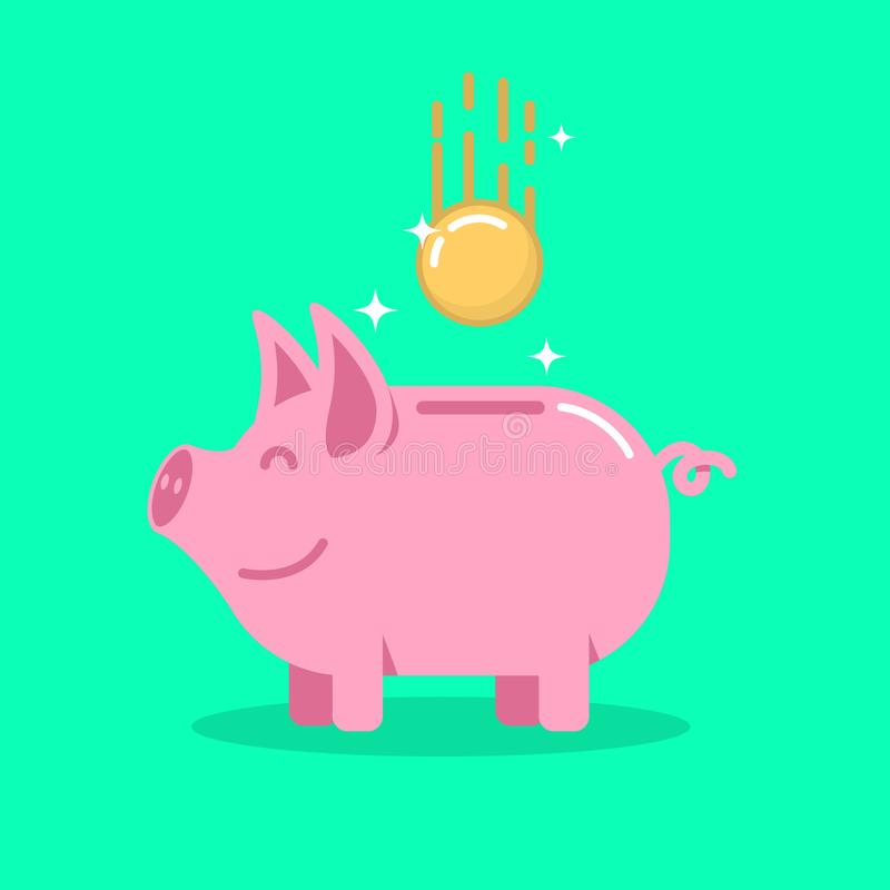 Piggy bank with coin in flat style. Design element for banner, animation. vector illustration