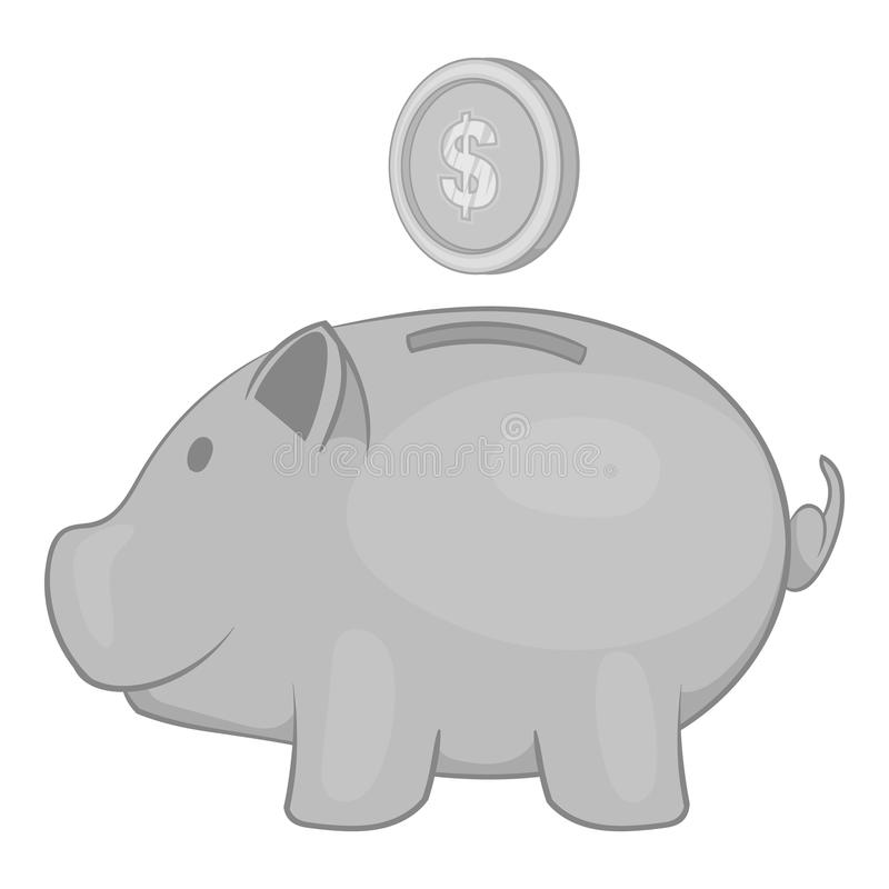 Piggy bank with coin icon, black monochrome style. Piggy bank with coin icon in black monochrome style isolated on white background. Money symbol vector royalty free illustration