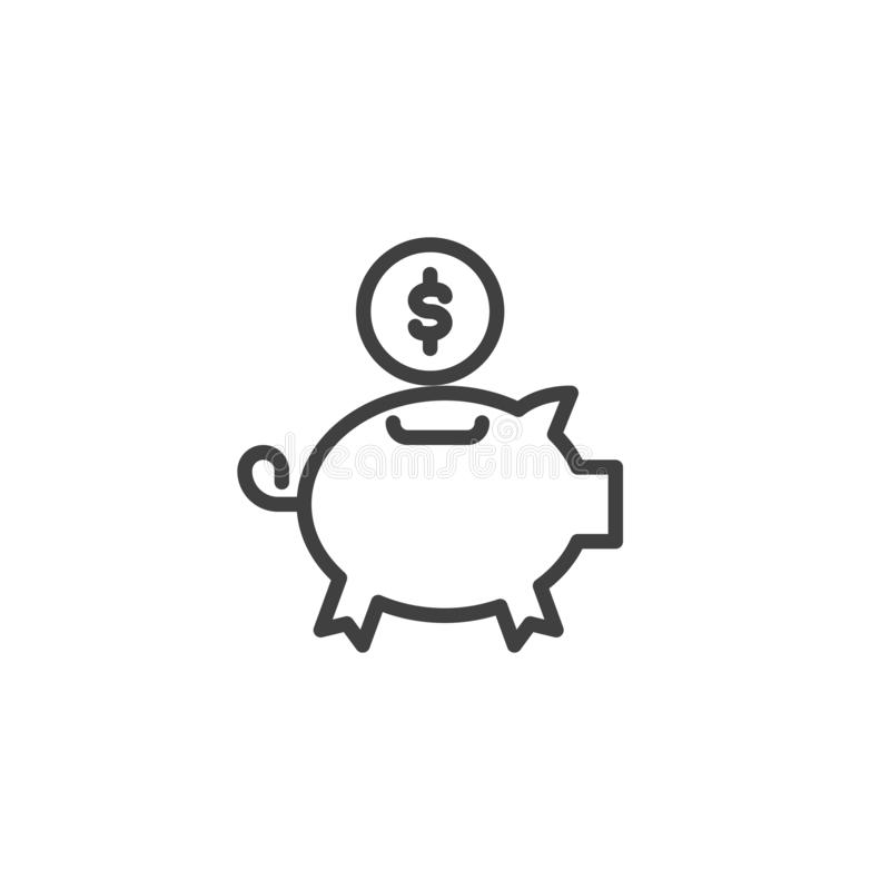 Piggy bank with coin line icon royalty free illustration