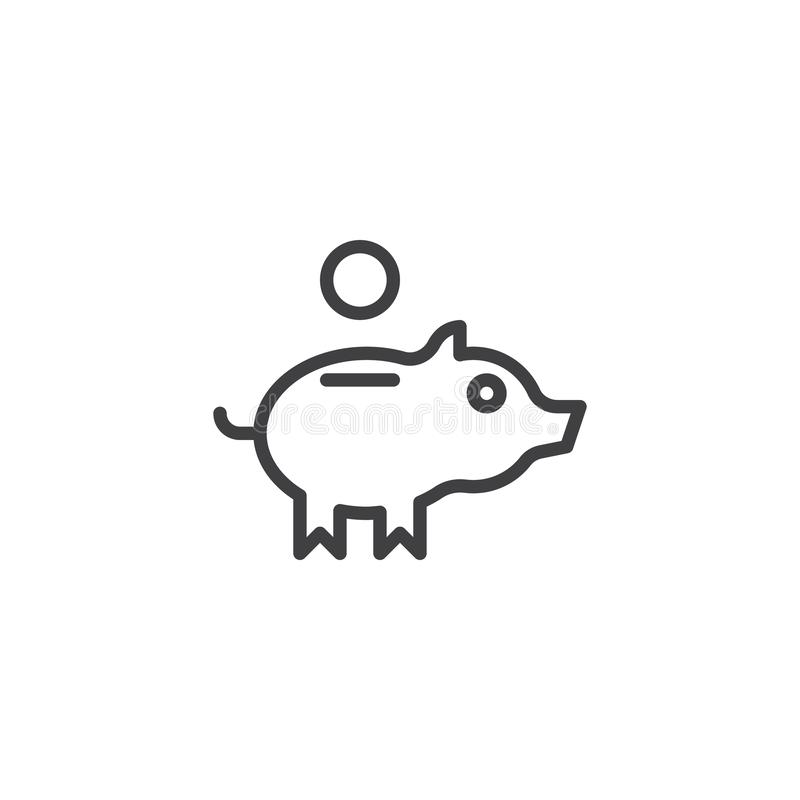 Piggy bank and coin line icon stock illustration