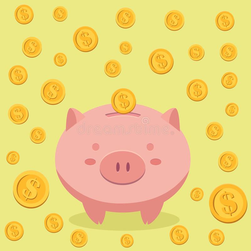 Piggy Bank and Coin Money Vector vector illustration