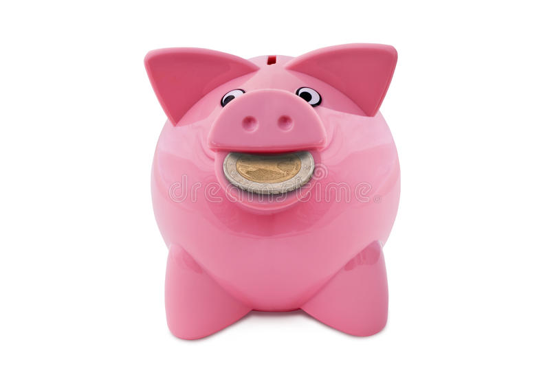 Piggy Bank With A Coin In The Mouth Stock Photos