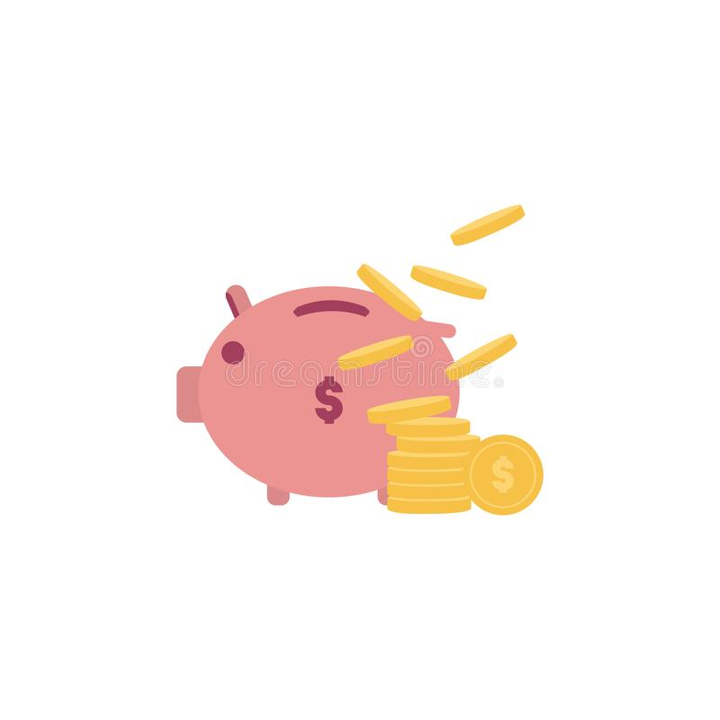 Piggy bank with coin vector illustration. Icon saving or accumulation of money, investment. The concept of banking or business vector illustration