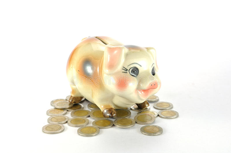 Download Piggy Bank with coins stock photo. Image of coin, american - 17785096