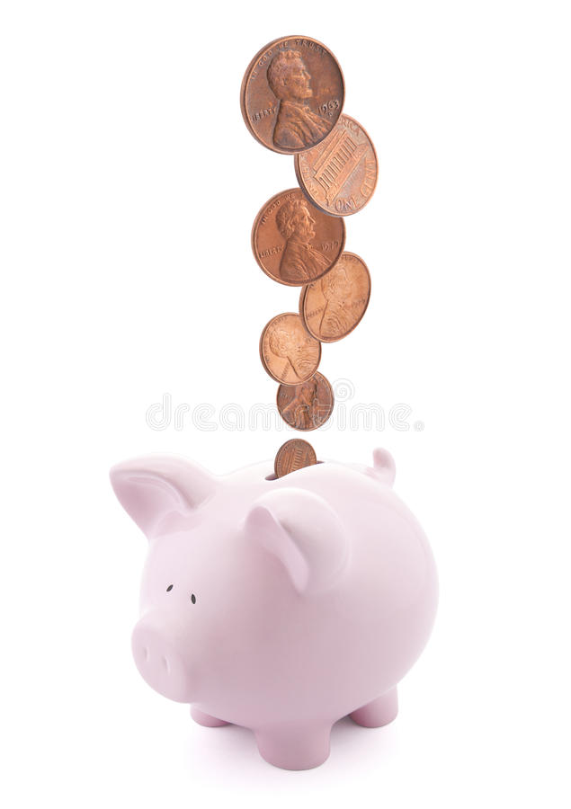 Download Piggy bank with coins stock photo. Image of drop, dollar - 22575682