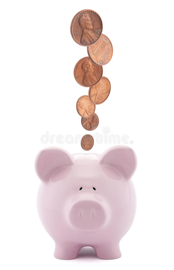 Piggy bank with coins stock photography