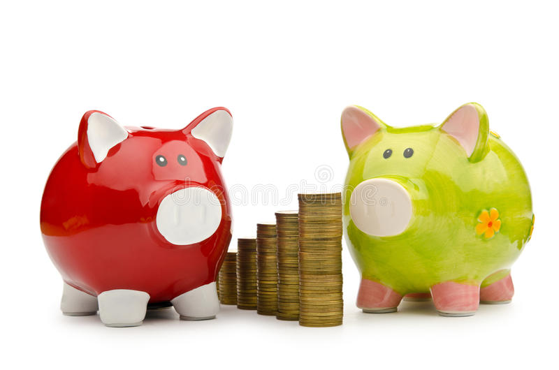 Download Piggy bank and coins stock image. Image of cash, deposit - 23372611