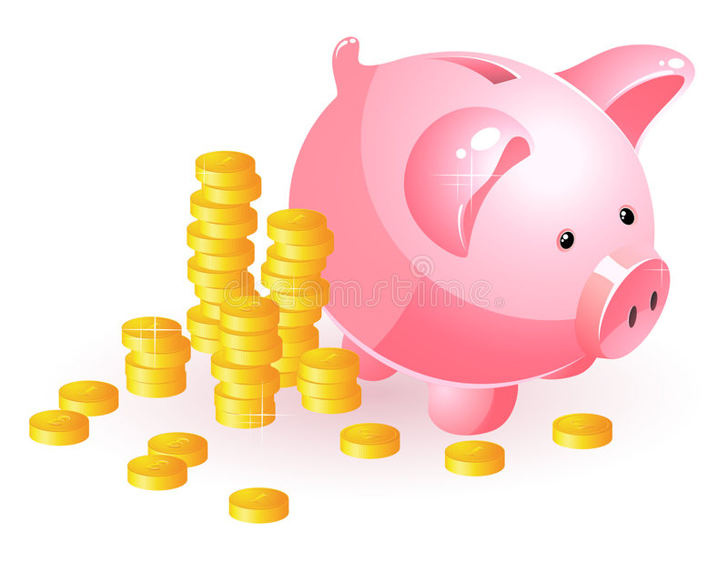 Download Piggy bank and coins stock vector. Illustration of background - 8195294