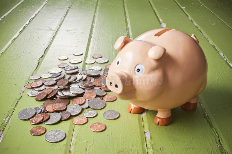 Piggy Bank Coins Background stock image