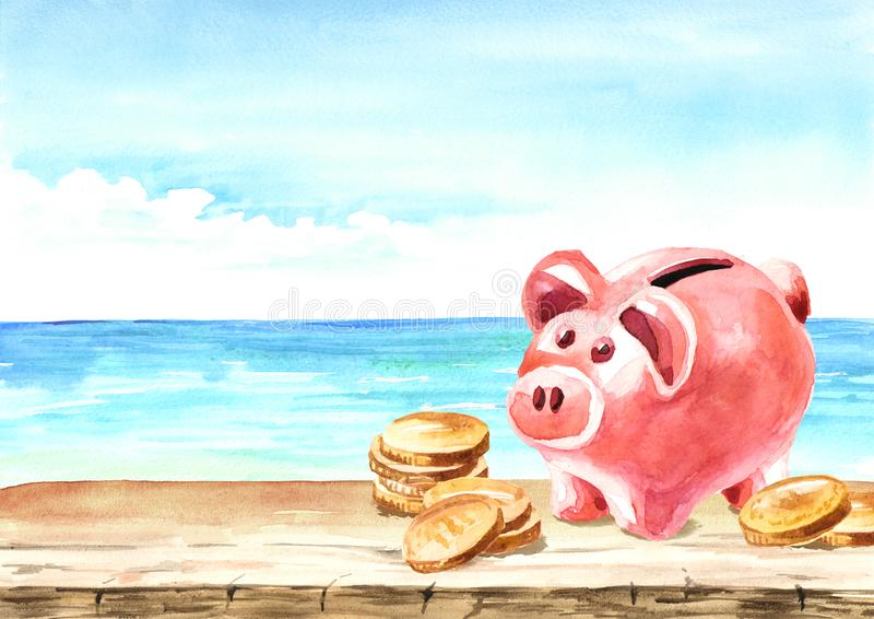 Piggy Bank with coins on the background of the sea. The credit for the vacation concept. Watercolor hand drawn card with copy stock illustration