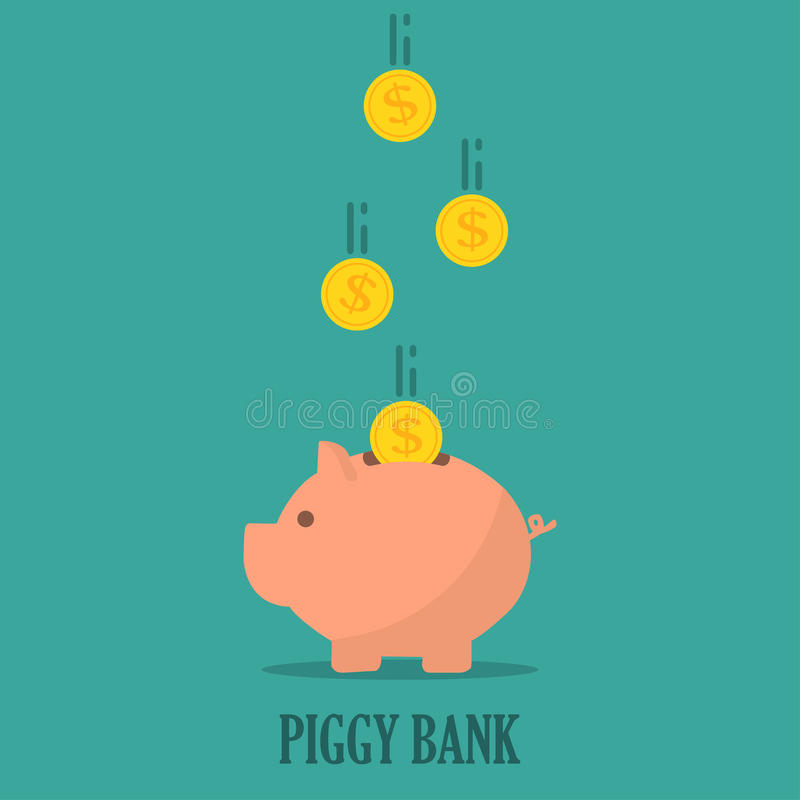 Piggy bank with coins in a flat design. The concept of saving or save money or open a bank deposit vector illustration