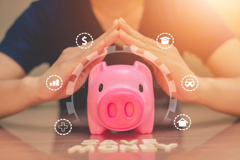 Piggy bank coins with saving money, Concept saving money for the future stock photo
