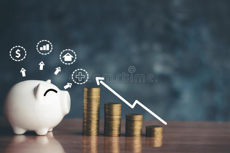 Piggy bank coins with saving money, Planning to save money for future use stock images
