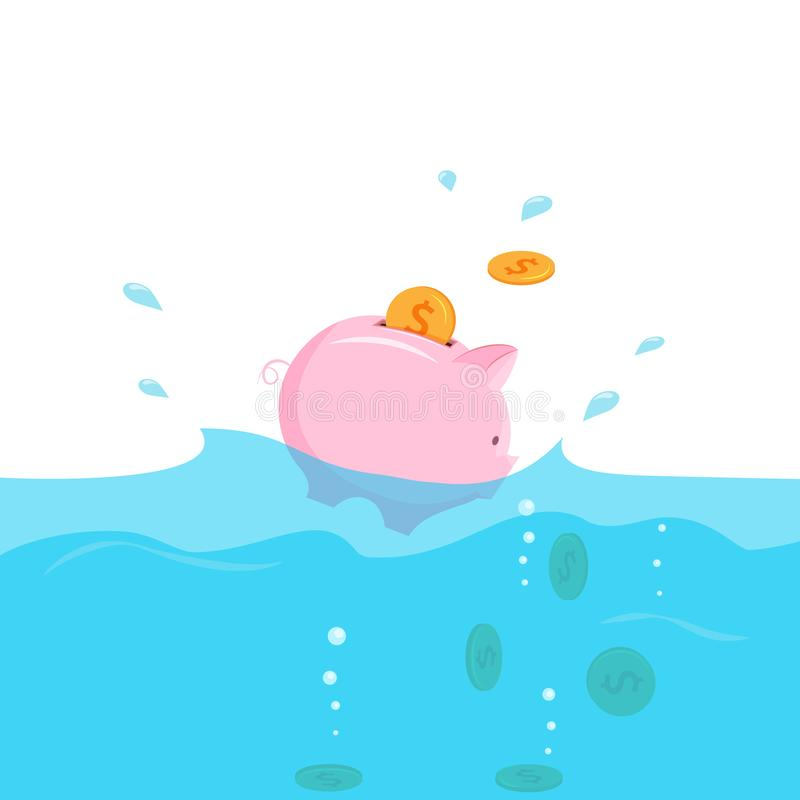 Piggy bank with coins sinking into water. Investment crisis, share drop down concept. Vector illustration vector illustration