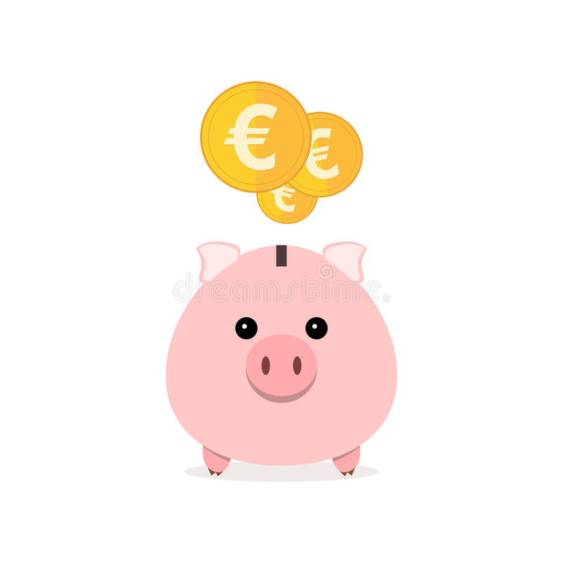 Piggy bank with coins. Vector illustration. Pink piggy bank and coins isolated. Piggy bank with falling coins in flat design. Gold euro coins. Vector vector illustration