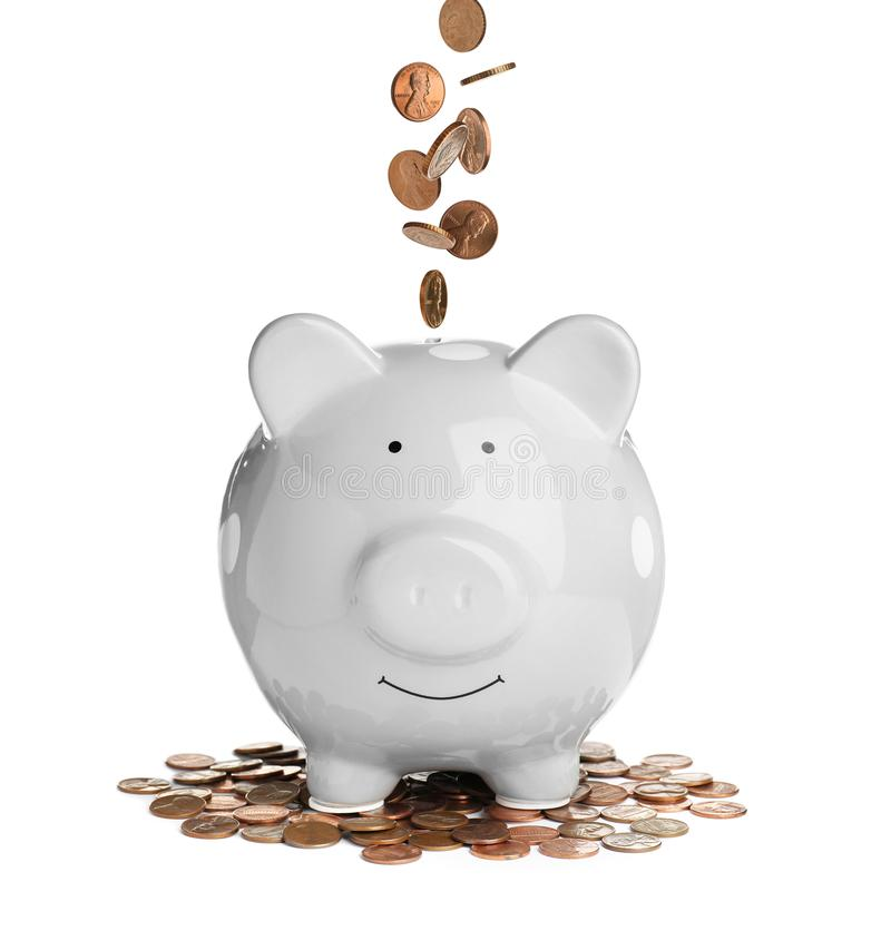 Piggy bank with coins. On white background royalty free stock photo
