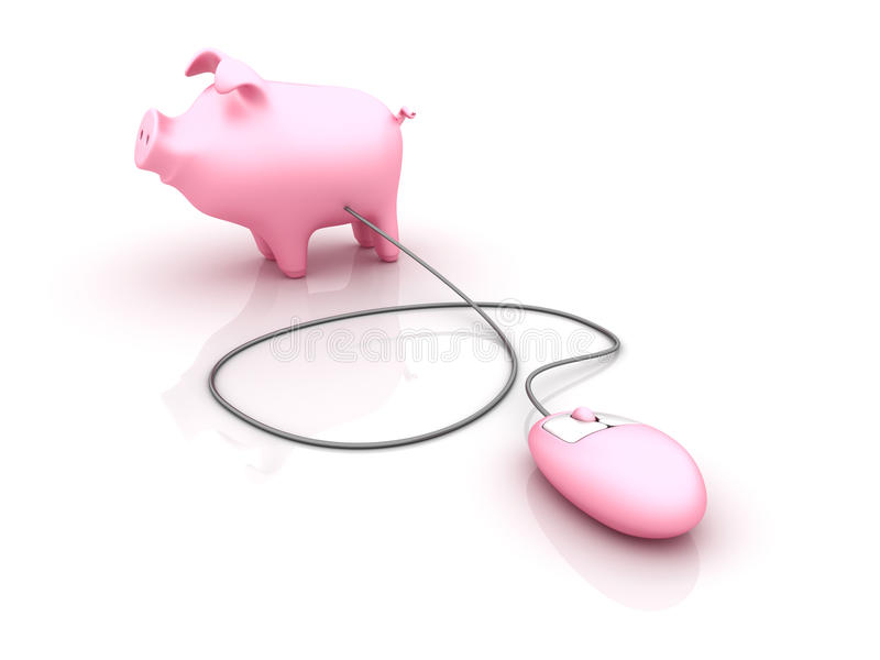 Piggy Bank with Computer Mouse. Three dimensional illustration of Computer Mouse attached to Piggy Bank, on white background royalty free illustration