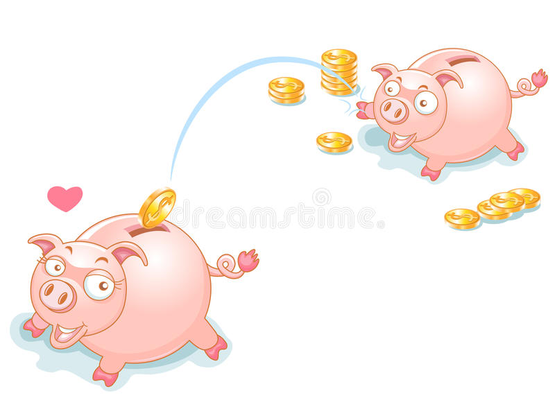 Download Piggy Bank Couples And Falling Money Stock Vector - Image: 22122228