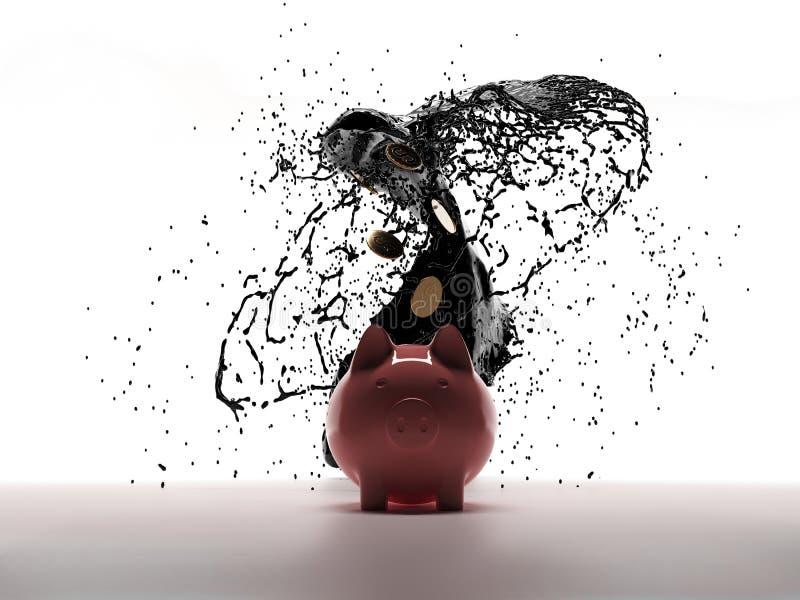 Piggy bank 3d Vuile olie breekt uit Olieproductie - de snelheid van de vat stock illustratie