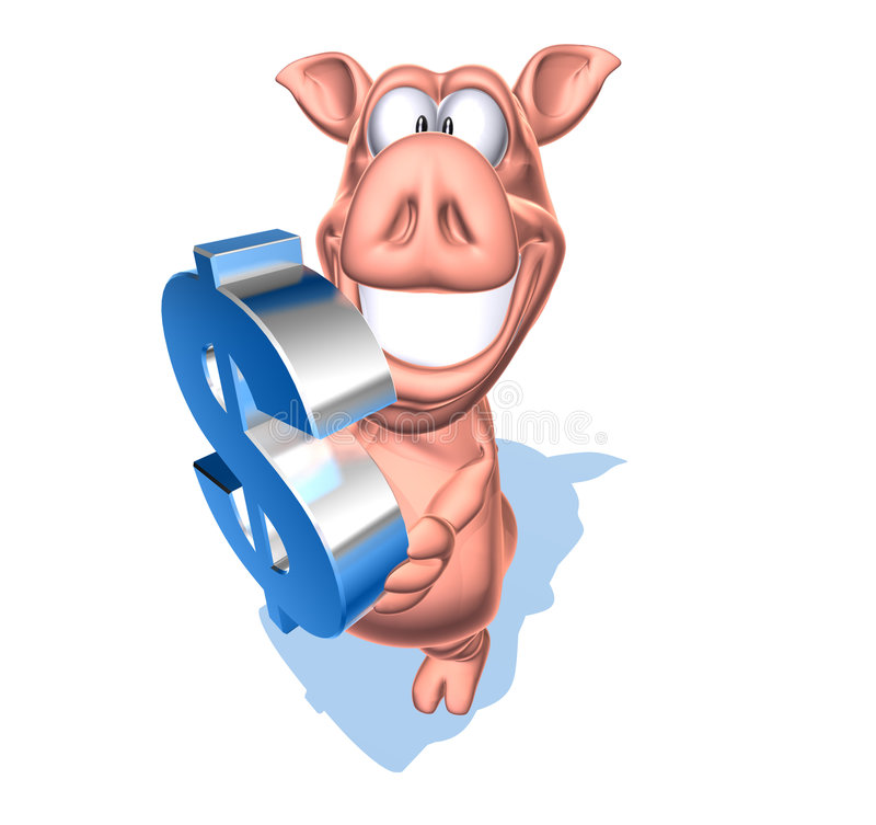 Piggy bank with a dollar stock illustration
