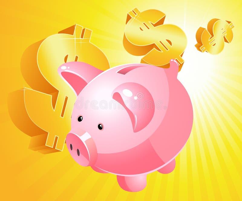 Piggy bank and dollar vector illustration
