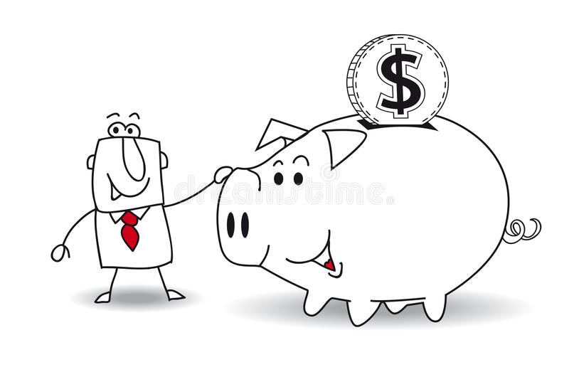 Piggy bank and dollar. This business man saves money in his Piggy bank . It's a metaphor. It's a good plan for the future vector illustration