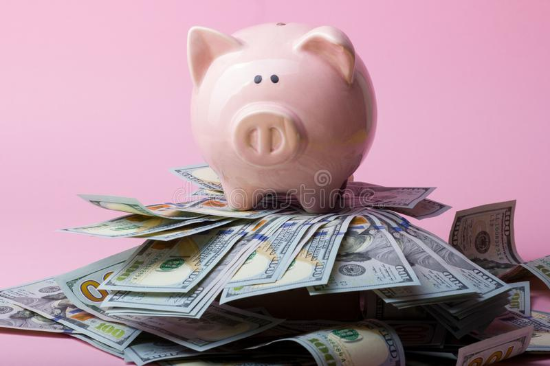 Piggy bank and dollar cash money. Business, finance, investment, saving and corruption concept. Piggy bank and dollar cash money. Business, finance, investment stock photo