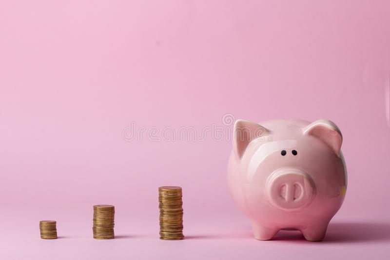 Piggy bank and dollar cash money. Business, finance, investment, saving and corruption concept. Piggy bank and dollar cash money. Business, finance, investment stock photography