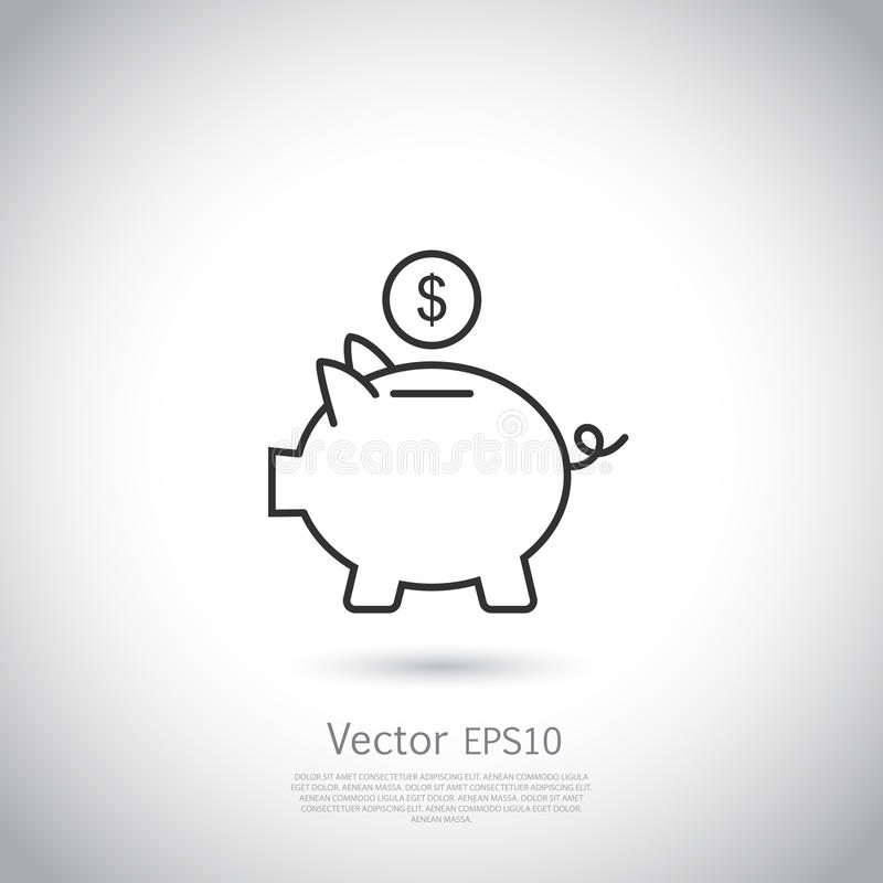 Piggy bank and dollar coin icon. royalty free illustration