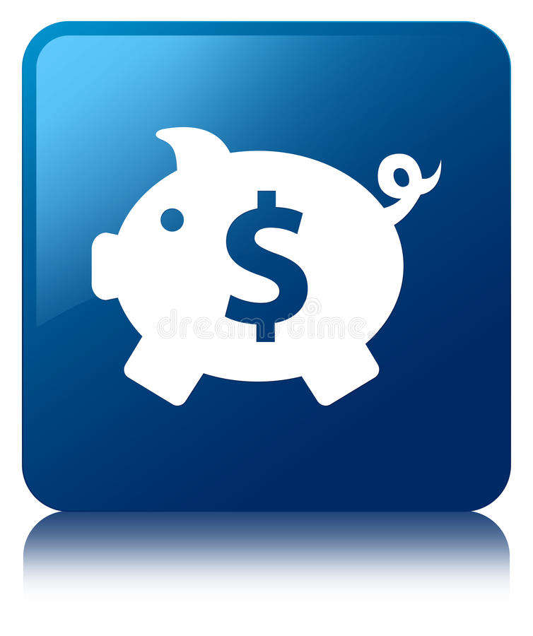 Piggy bank dollar sign icon blue square button royalty free illustration