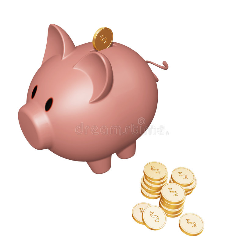 Piggy bank with dollars vector illustration