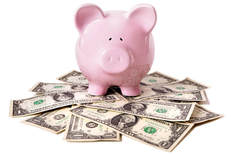 Piggy Bank with US Dollars, saving concept, isolated on white background stock images