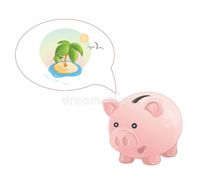 Piggy Bank Dream A Rest Royalty Free Stock Photography