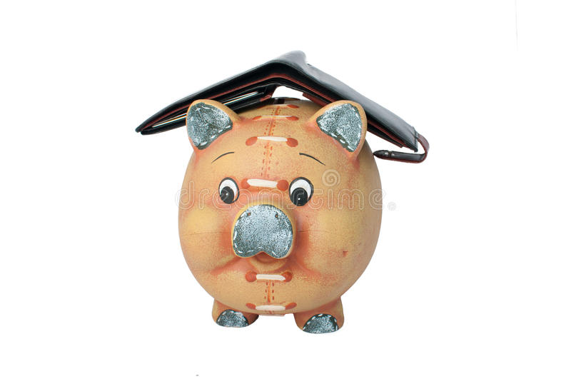 Piggy bank with an empty wallet. On the back stock images