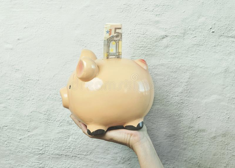 Piggy bank with Euro bills royalty free stock images