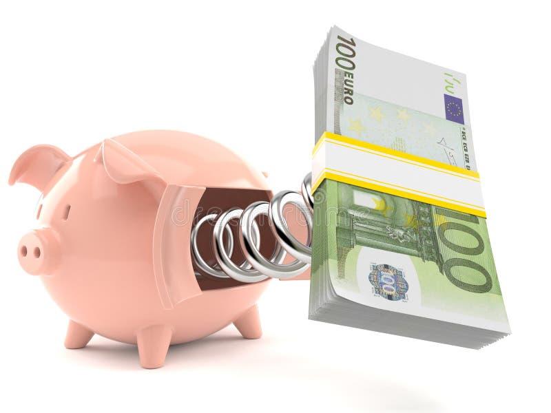 Piggy bank with euro money vector illustration