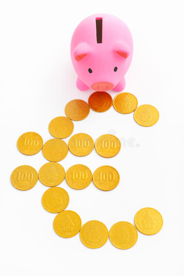 Piggy bank and euro sign