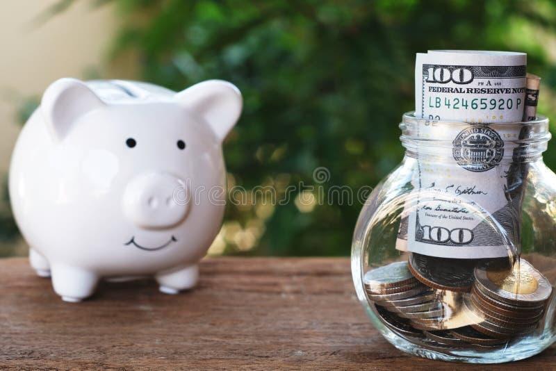 Piggy bank eyes on glass of money jar. Saving money concept stock images