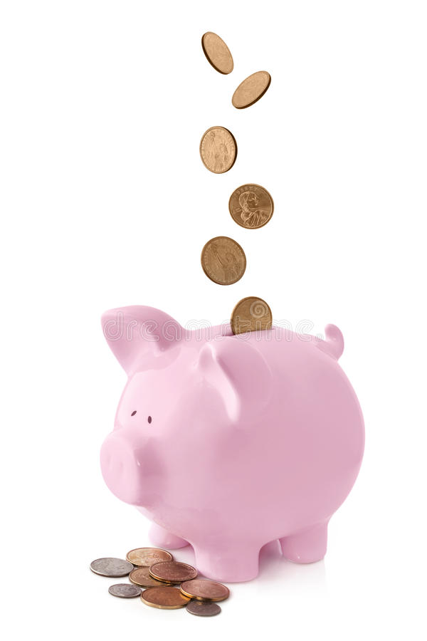 Piggy Bank with Falling Coins. Pink piggy bank, with coins falling into slot. Isolated on white