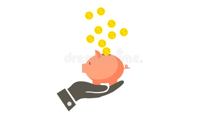 Piggy bank with falling coins icon vector illustration
