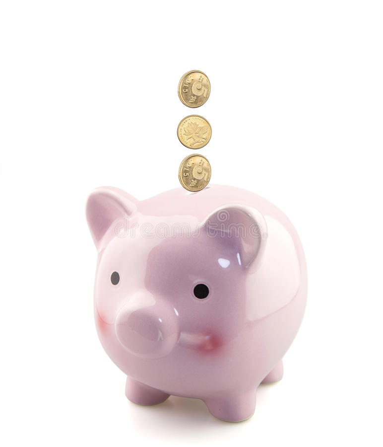 Piggy bank with falling coins stock images
