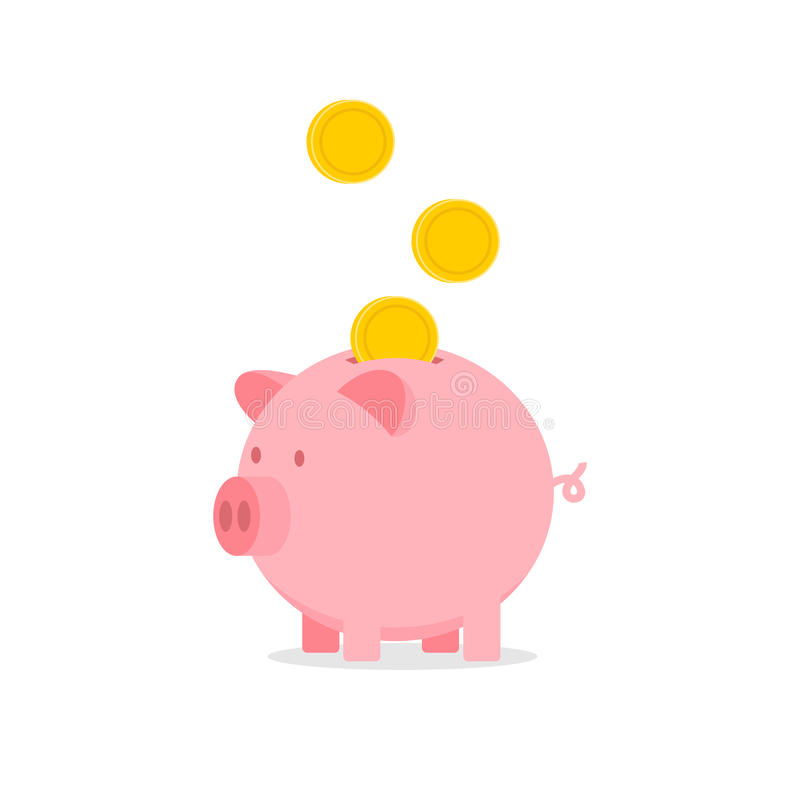 Piggy bank with falling coins stock photography
