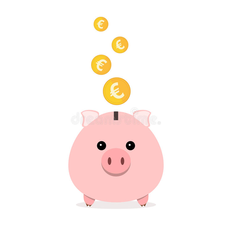 Piggy bank with falling coins. Vector illustration. Pink piggy bank and gold coins isolated. Piggy bank with falling euro coins in flat design. Vector stock illustration