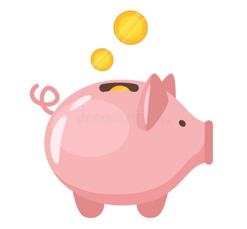 Piggy bank flat vector illustration stock illustration