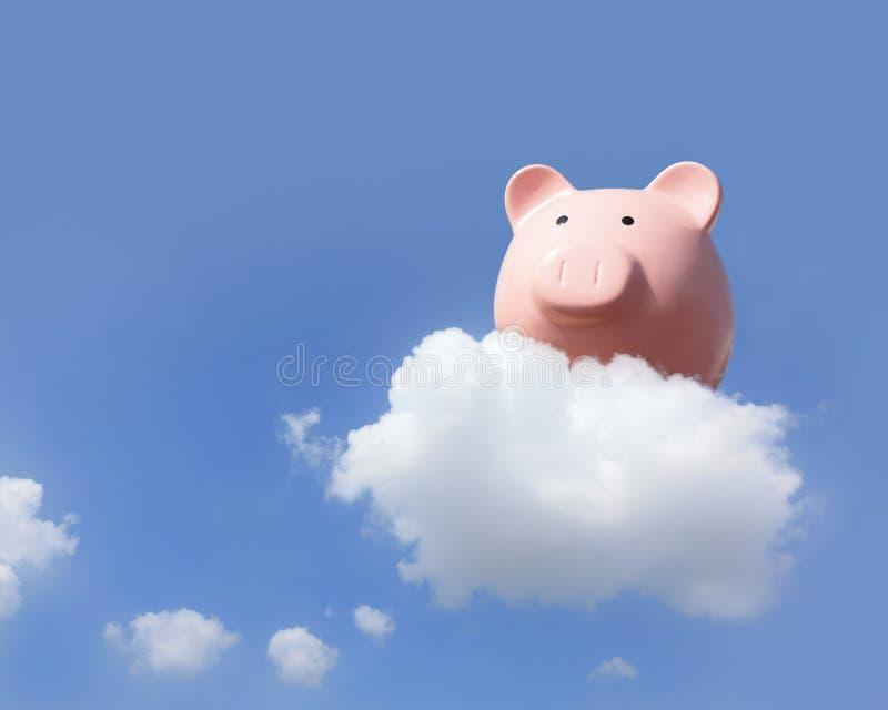 Piggy bank flying free stock photos