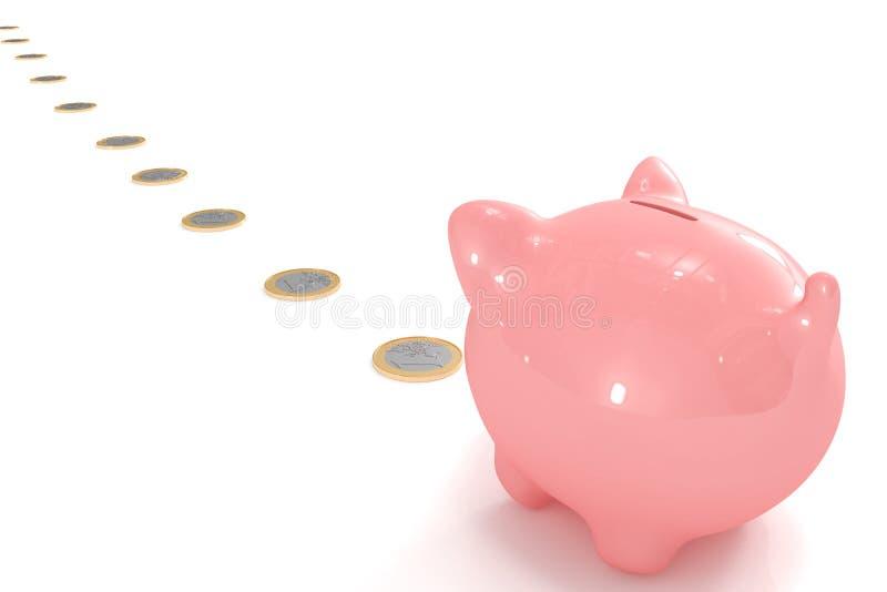 Piggy Bank Following A Coin Path Stock Photos