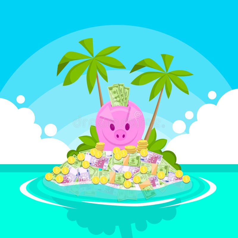 Piggy Bank Full of Money Tropical Island Palm Tree Offshore Banking. Concept Flat Vector Illustration stock illustration