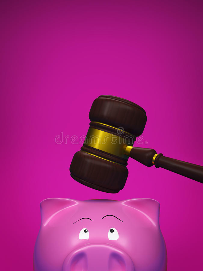 Piggy bank and gavel stock photo