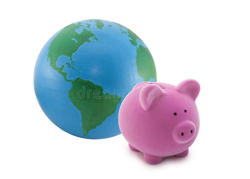 Piggy bank and globe. Isolated on white. Earth has been hand painted by me stock image