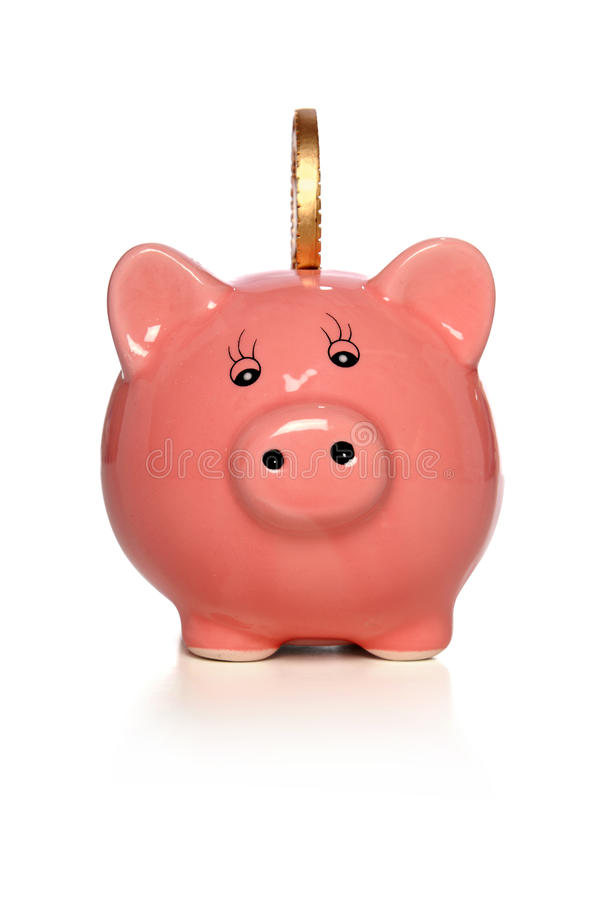 Piggy Bank with Gold Coin stock photos